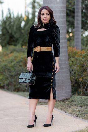 Vestido Midi em Veludo com Cinto Kauly