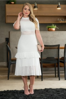 Vestido Midi Kauly em Lasie Branco