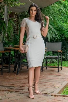 Vestido Tubinho Luciana Pais em Malha e Cinto
