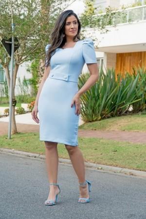 Vestido Tubinho Luciana Pais Manga Princesa Azul