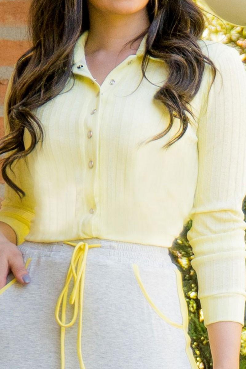 Camisa Amarela manga Longa Luciana Pais