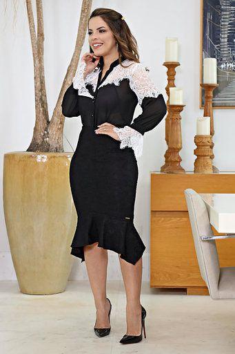 Camisa Feminina Manga Longa em Chiffon com Renda kauly