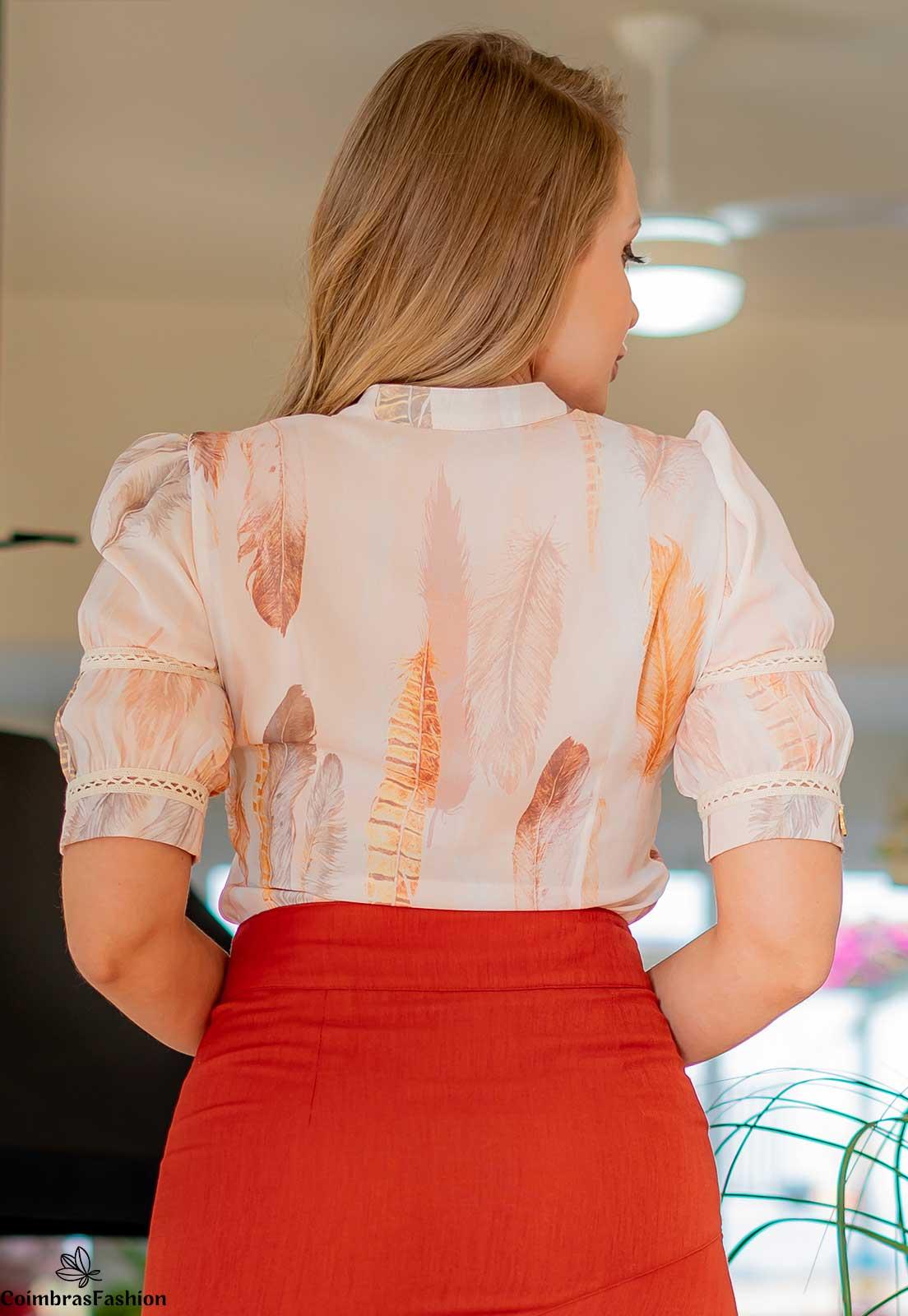 Camisa Em Crepe Estampado Detalhes Em Renda Kauly