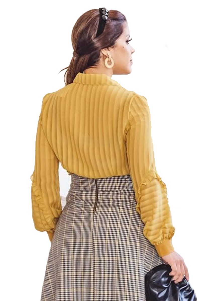 Camisa Feminina Amarela Manga Longa Crepe Kauly