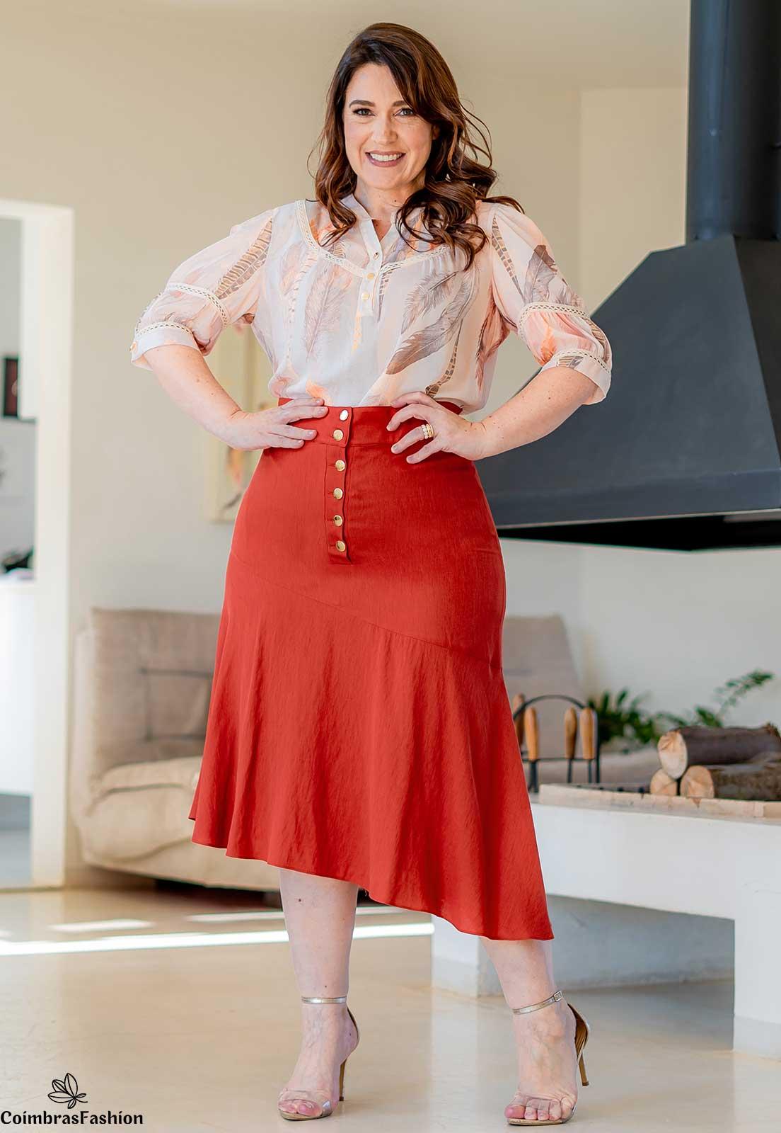 Camisa Plus Size Em Crepe Com Detalhes Em Renda Kauly