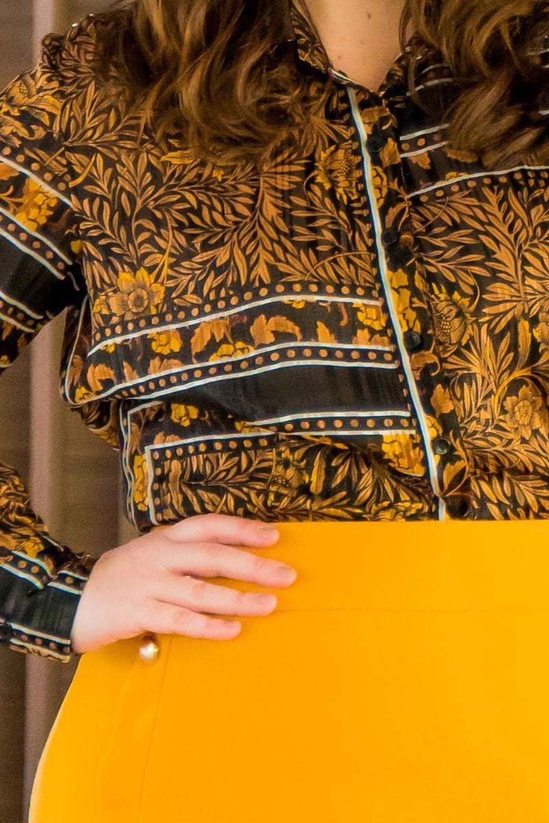 Camisa Plus Size Estampada em chiffon Kauly