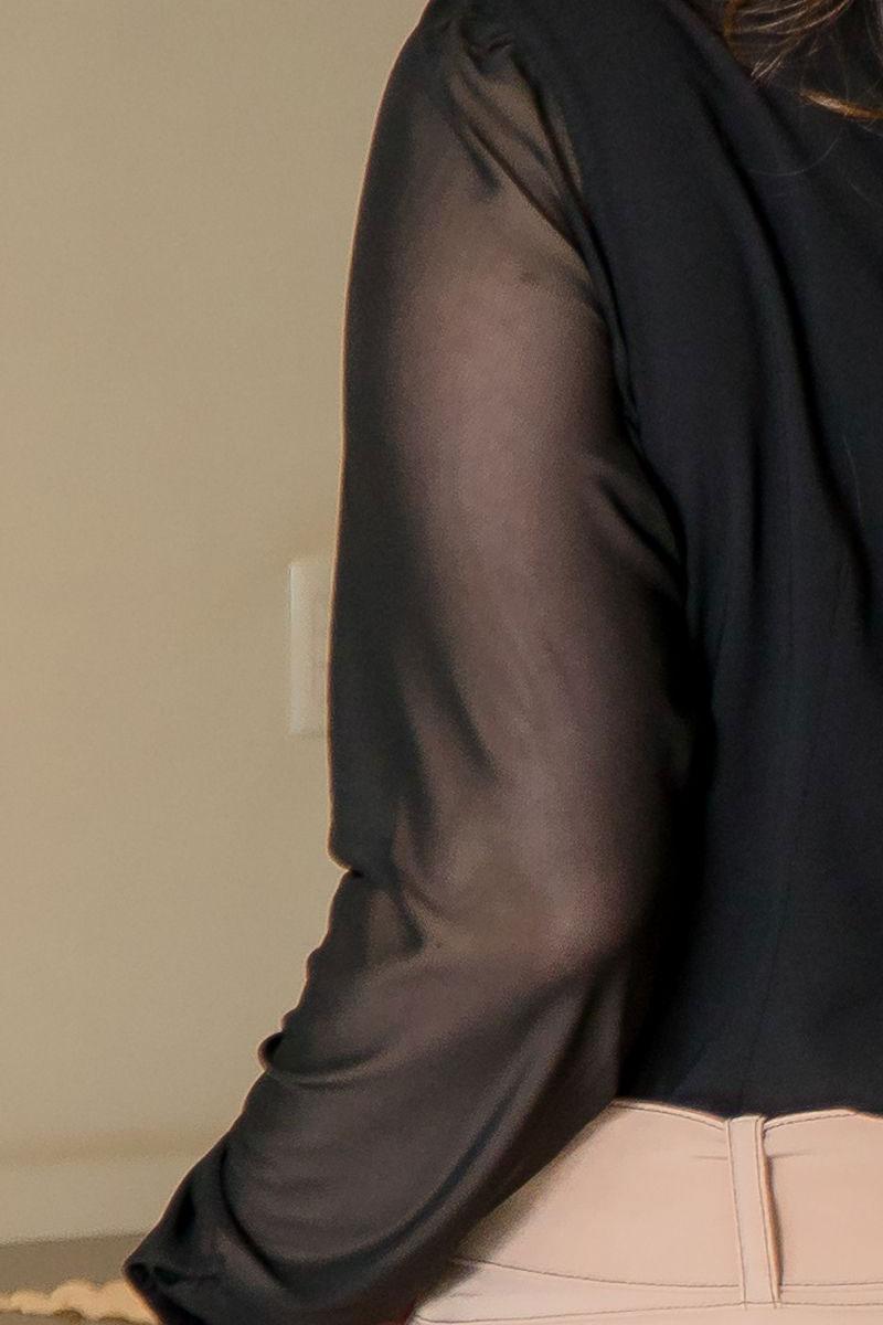 Camisa Plus Size Kauly Manga Longa em Tule