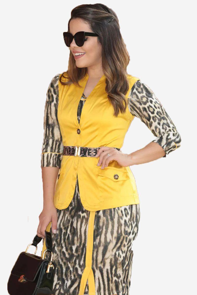 Colete Feminino Amarelo Cinto Kauly