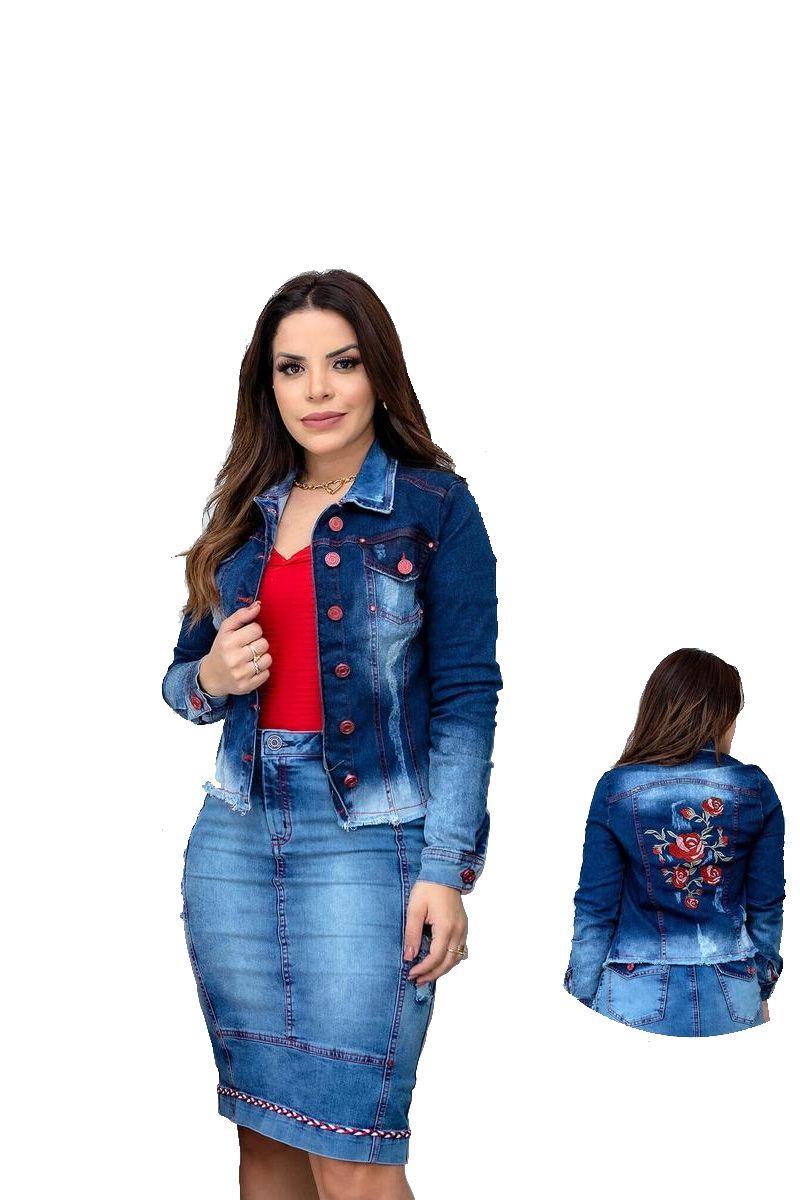 Jaqueta Jeans Feminina Azul Joyaly