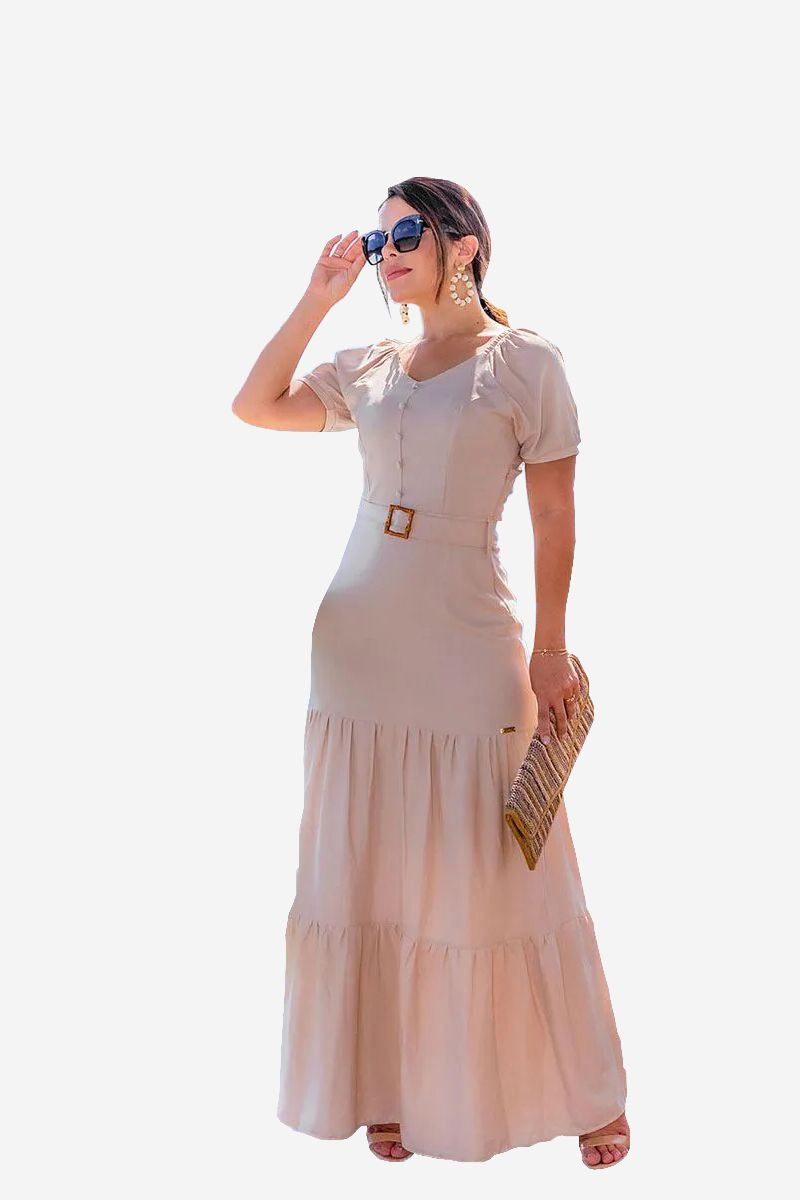 Vestido Bege Longo Manga Bufante Joyaly - 30461
