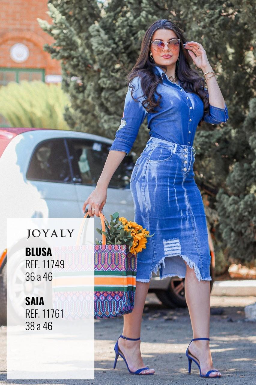 Saia Jeans Midi Joyaly 11761