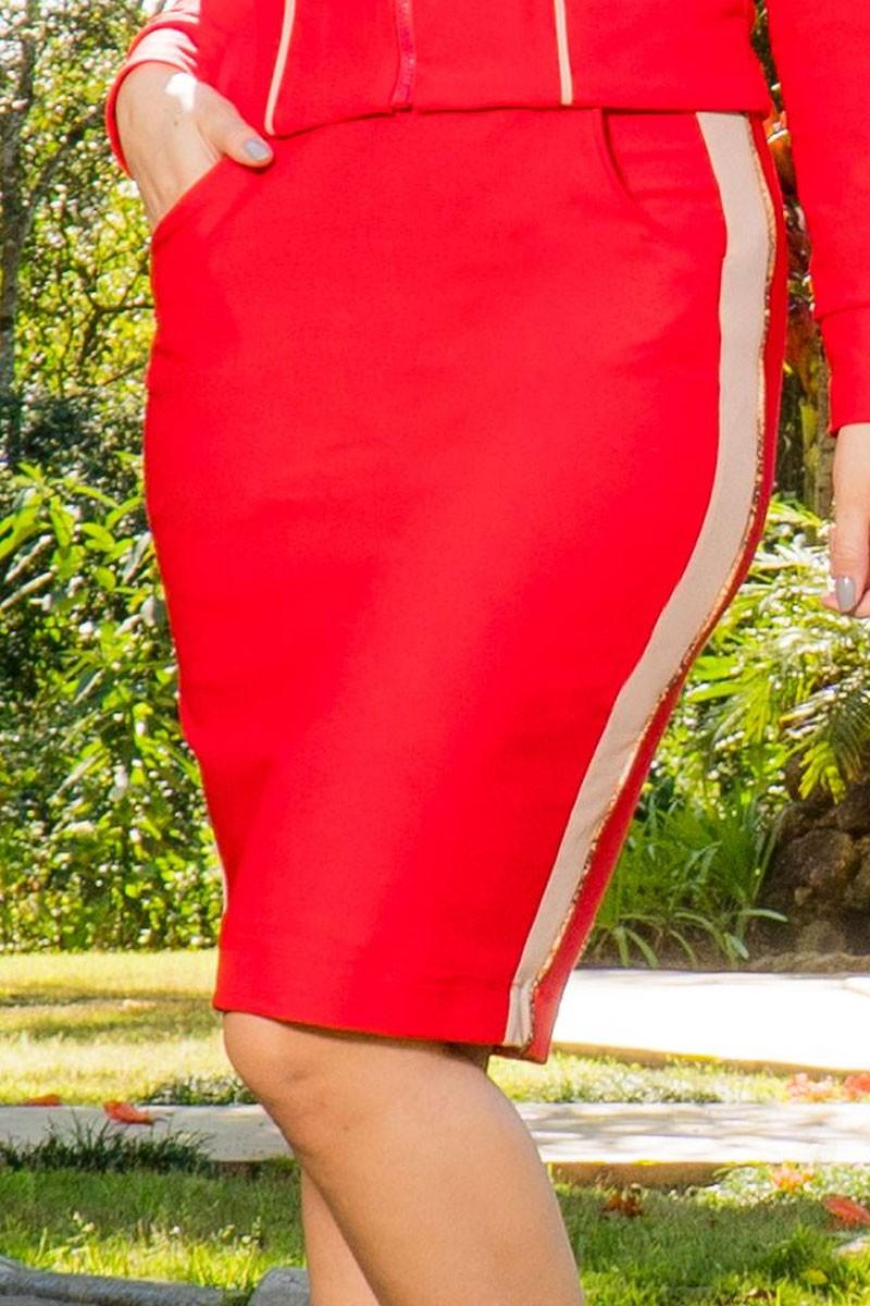 Saia Lápis em sarja Vermelha Luciana Pais