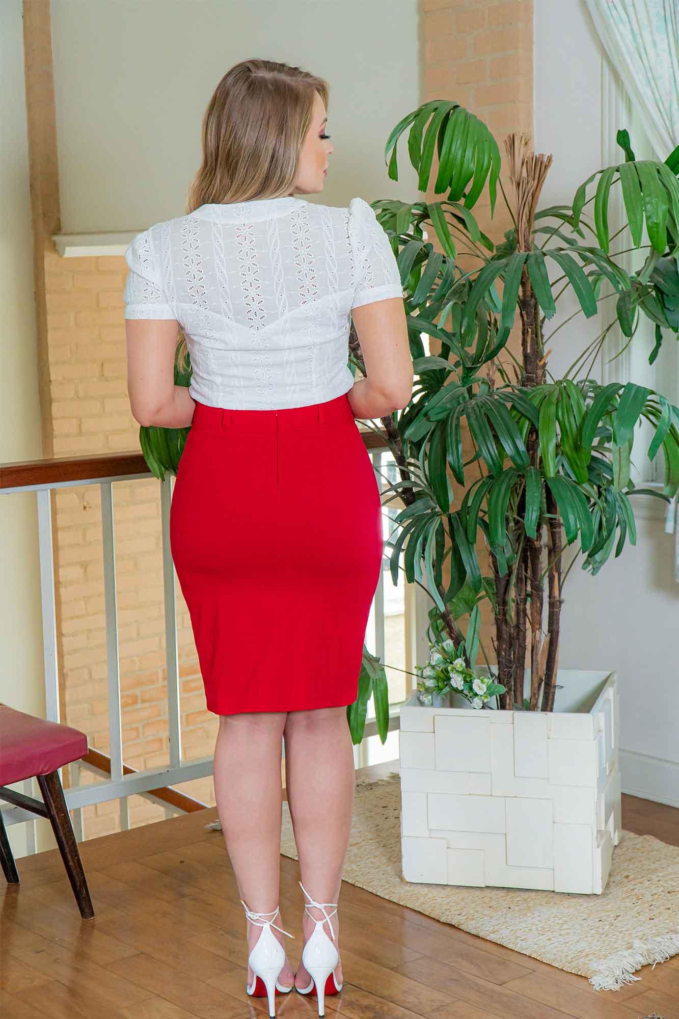 SAIA LÁPIS KAULY VERMELHA EM BENGALINE COM PREGA 3026