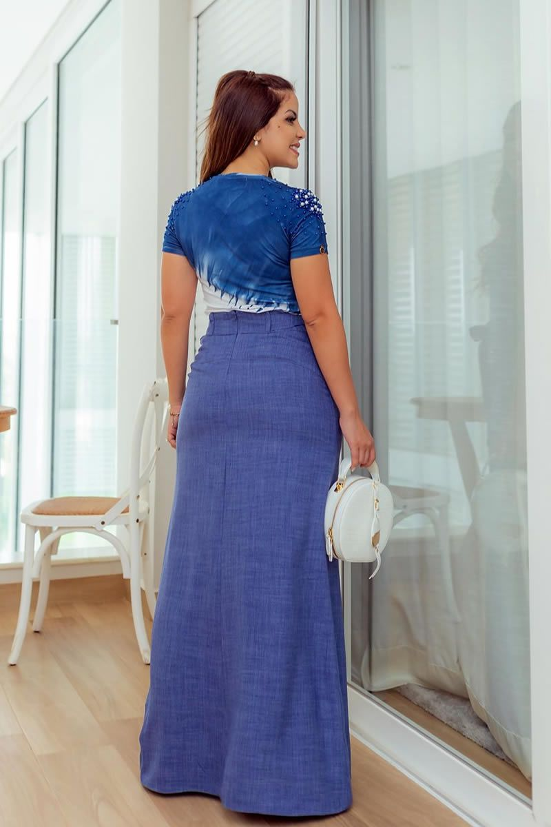 Saia Longa Azul Fenda Luciana Pais