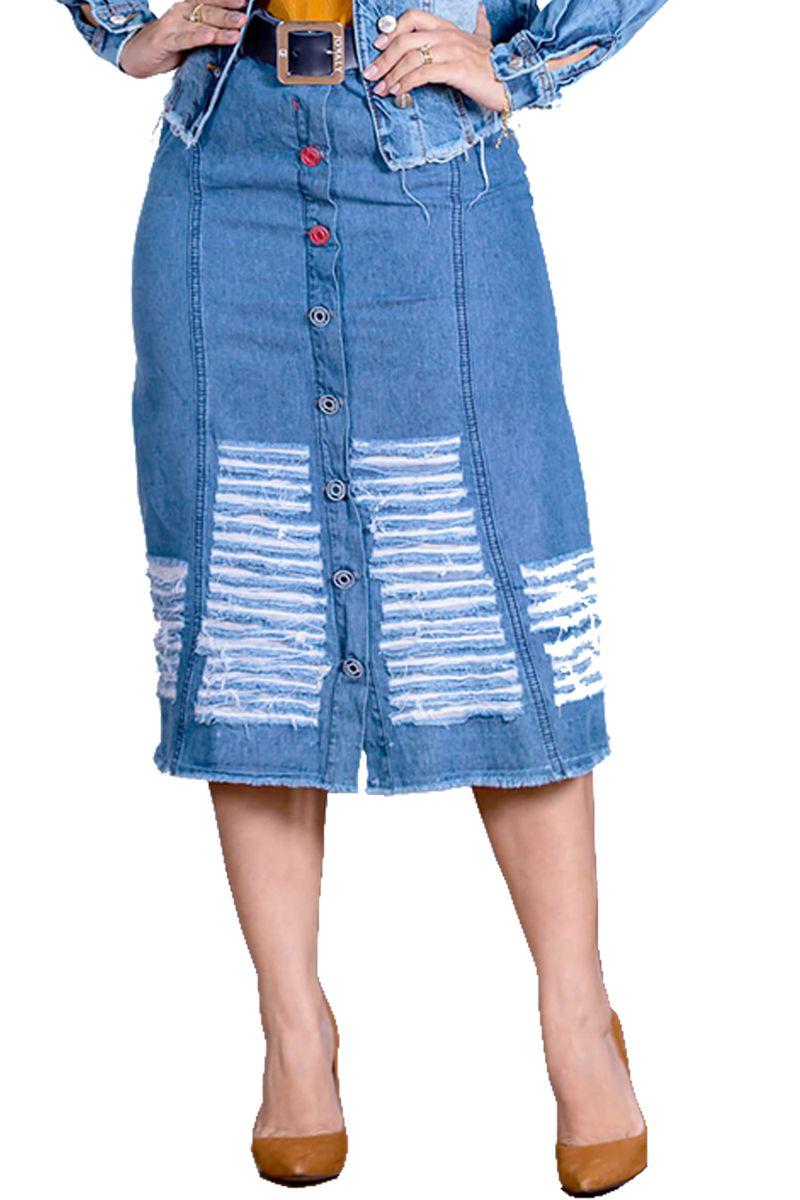Saia Midi Jeans com Destroyed e Botões Joyaly