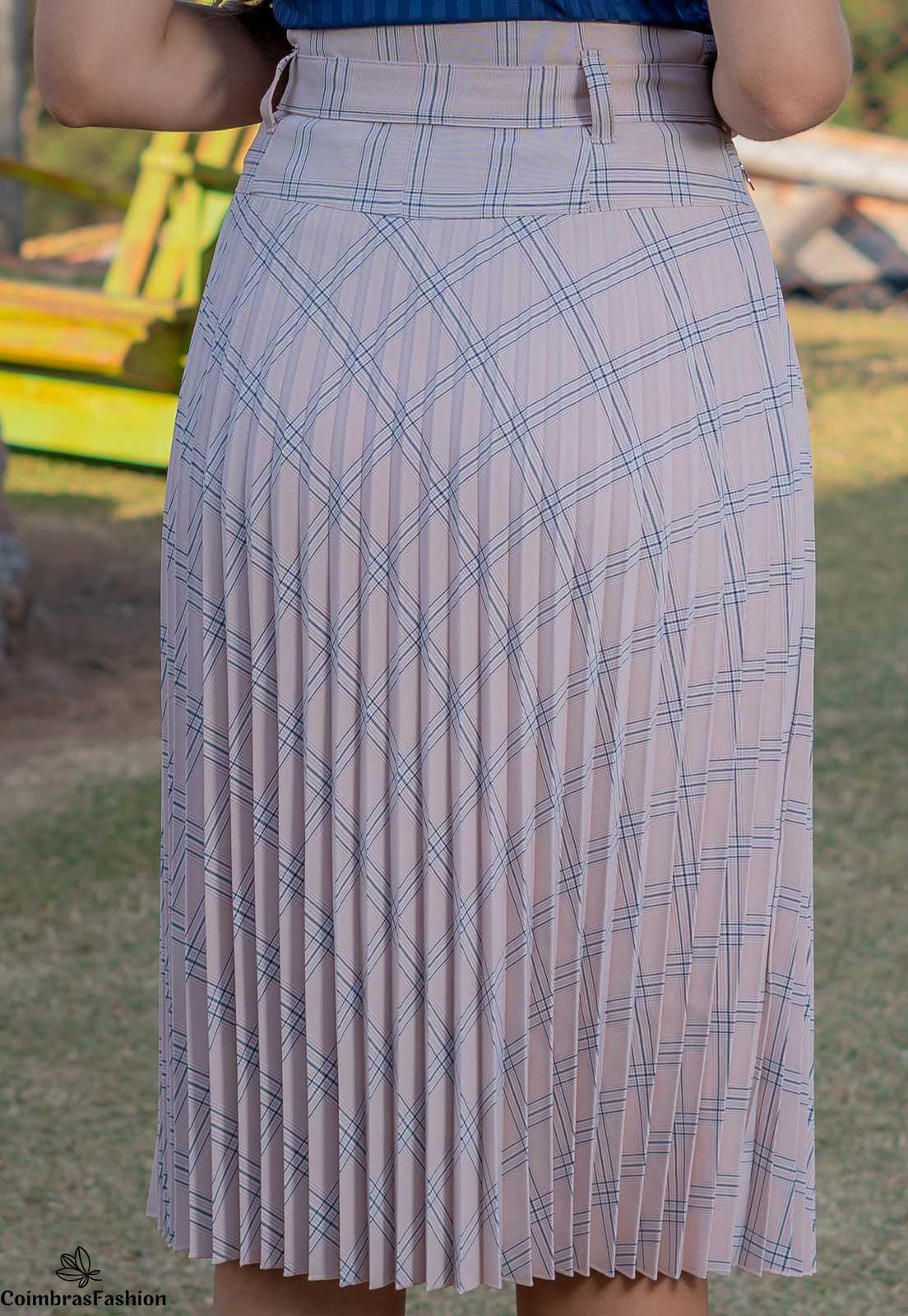 Saia plissada xadrez em alfaiataria luciana pais