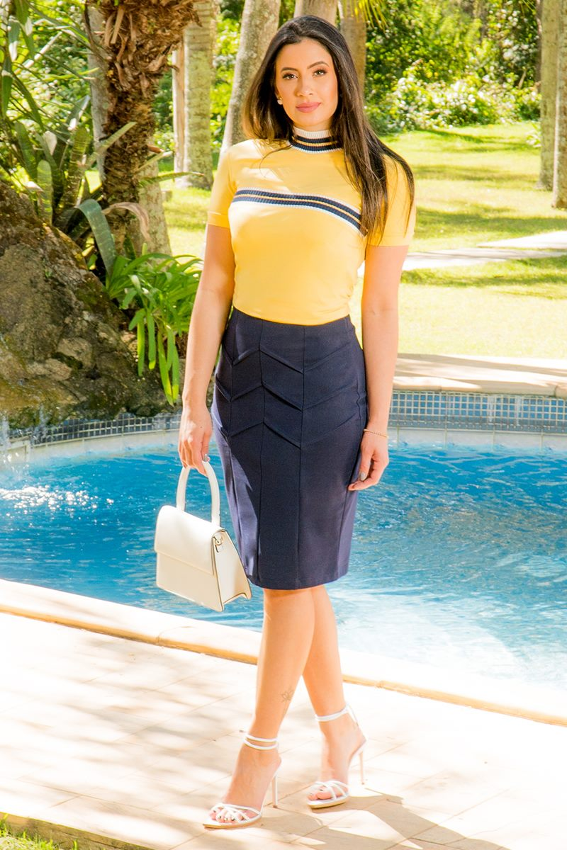 Saia Secretária Azul Marinho Luciana pais