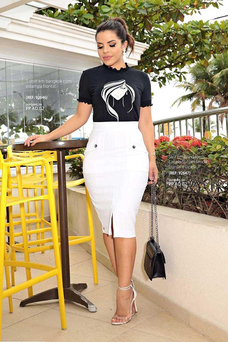 T-shirt Preta Manga Curta em bangkok Luciana Pais 92646