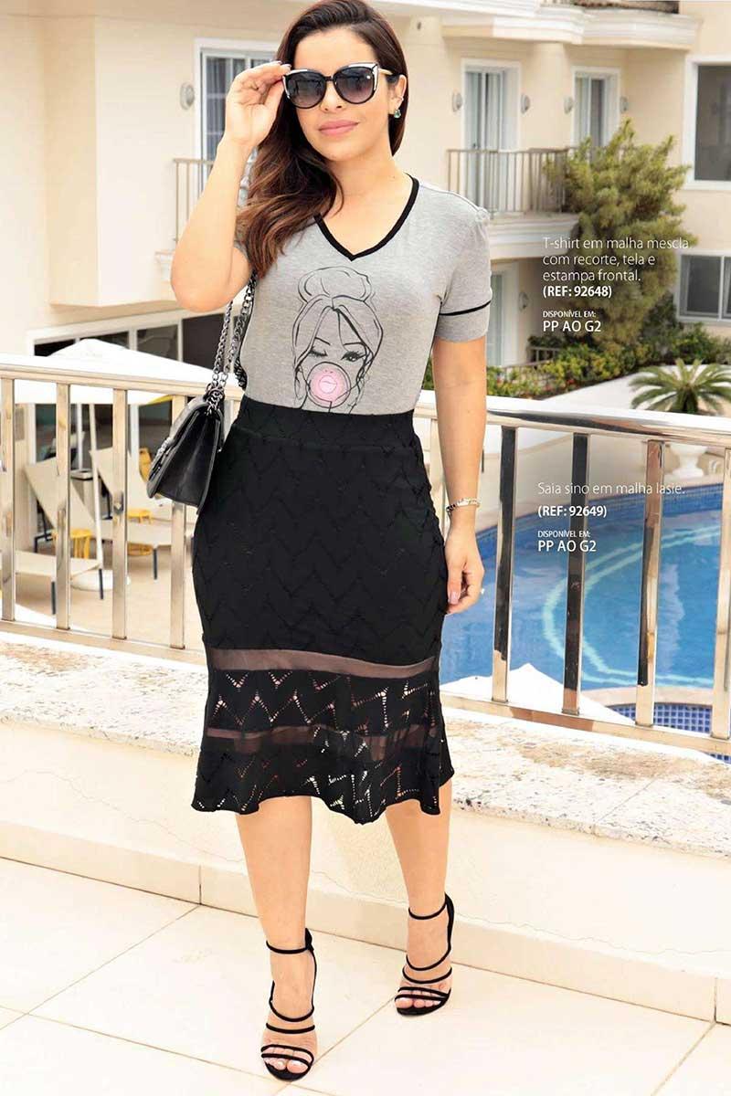 T-shirt Cinza Manga Curta em malha Luciana Pais - 92648