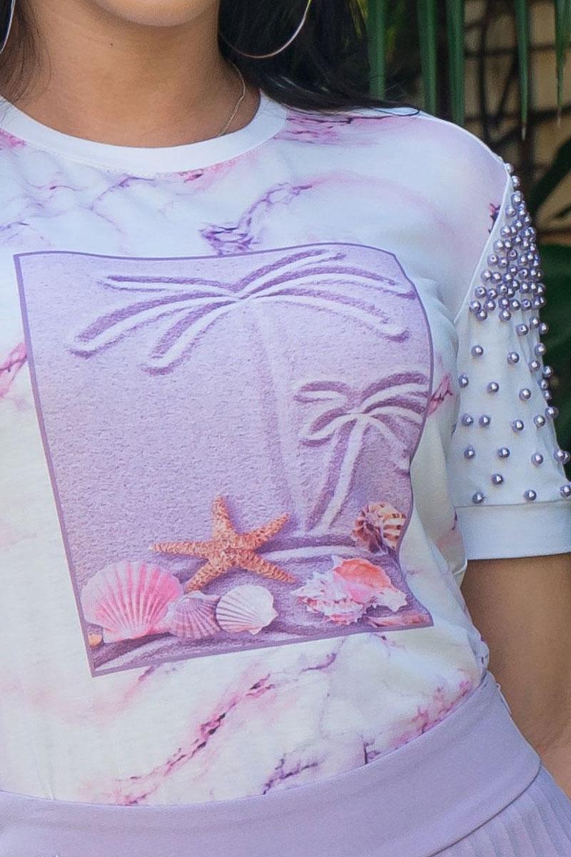 T-shirt Feminina Luciana Pais em Malha e Bordado