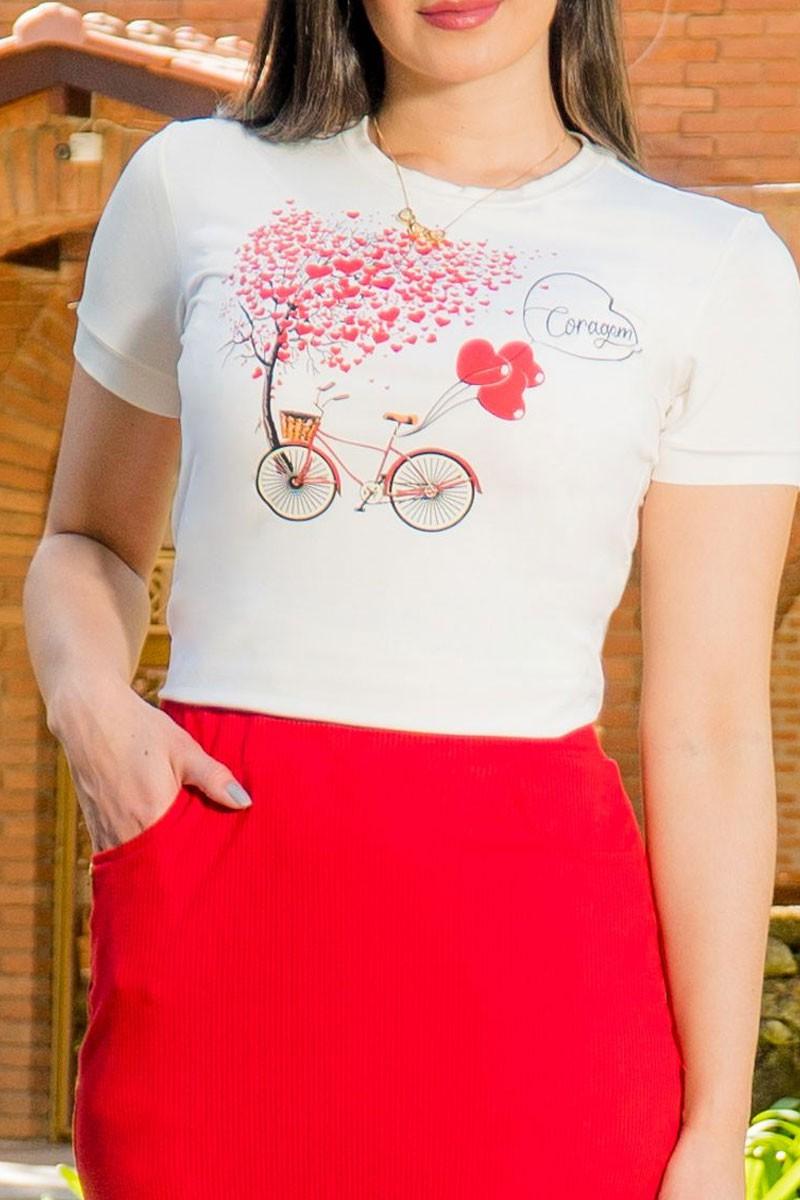 T-shirt Feminina Manga Curta em malha Luciana Pais