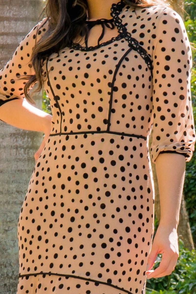 Vestido Com Babado em Tule de Poá Luciana Pais