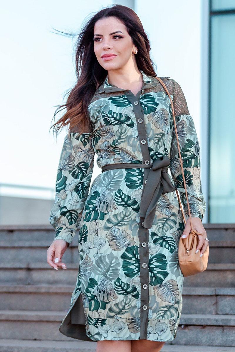 Vestido Crepe de Seda Manga Longa Kauly Estampado