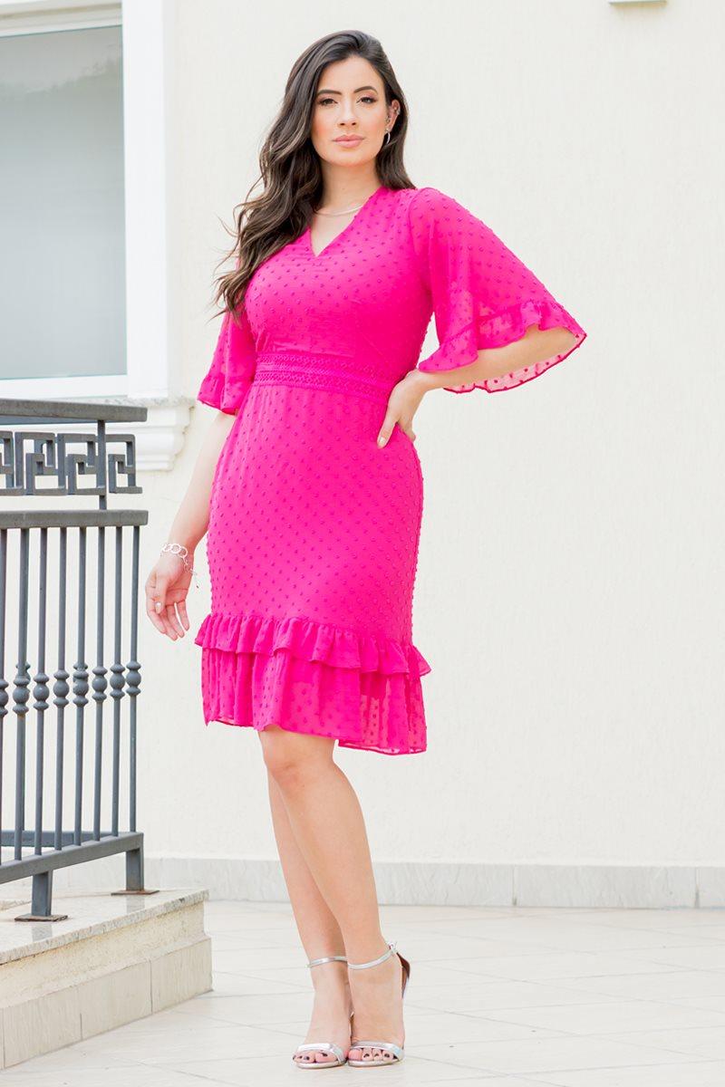 Vestido Evasê em Chiffon Rosa Manga Flare Luciana Pais