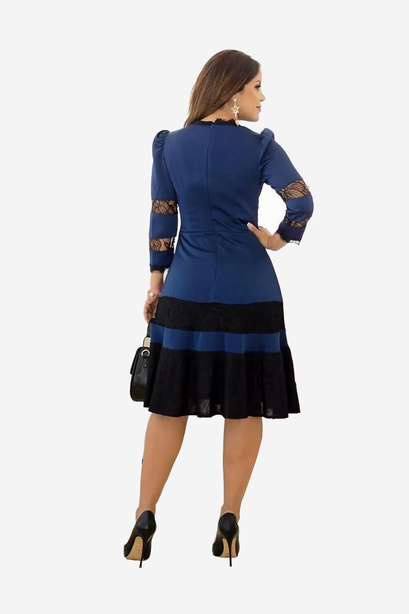 Vestido Evasê Azul Manga Longa Kauly