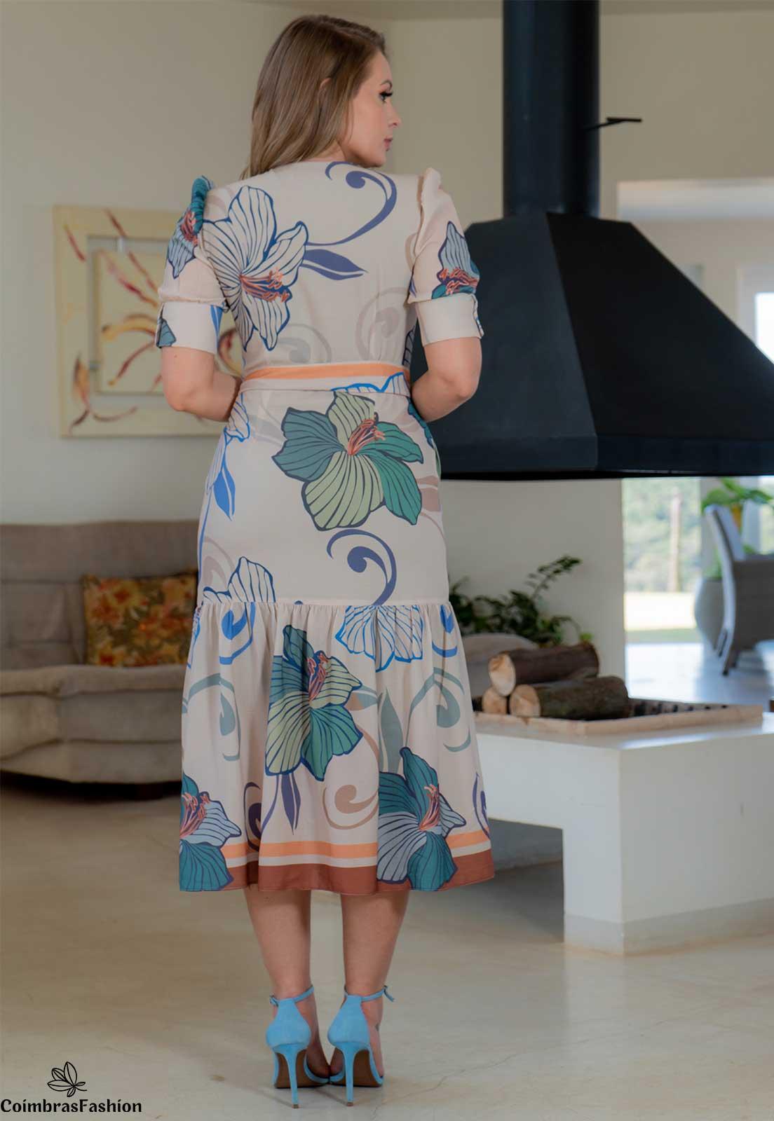 Vestido Em Crepe Estampa Exclusiva Botões Frontais Kauly
