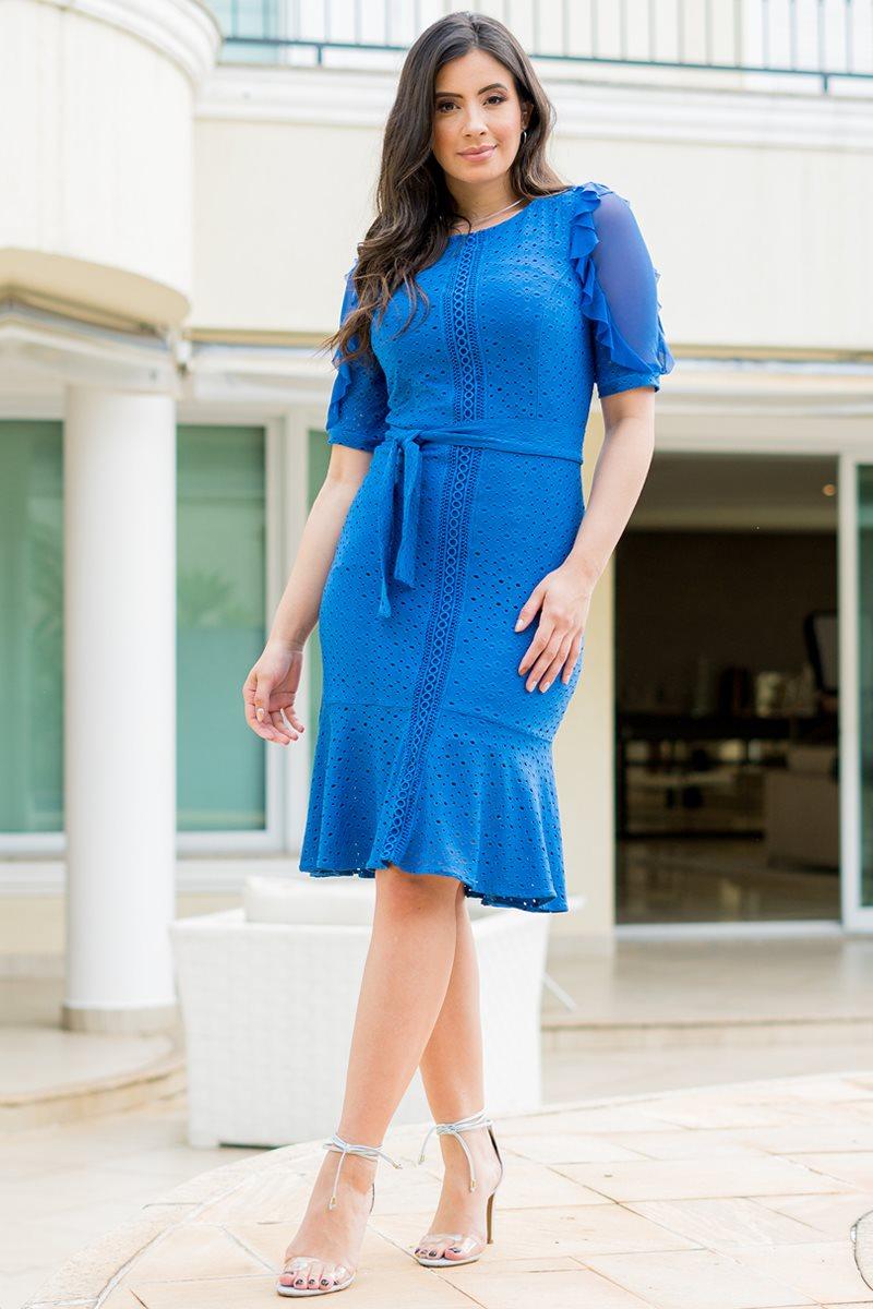 Vestido em Laise de Malha Azul Luciana Pais