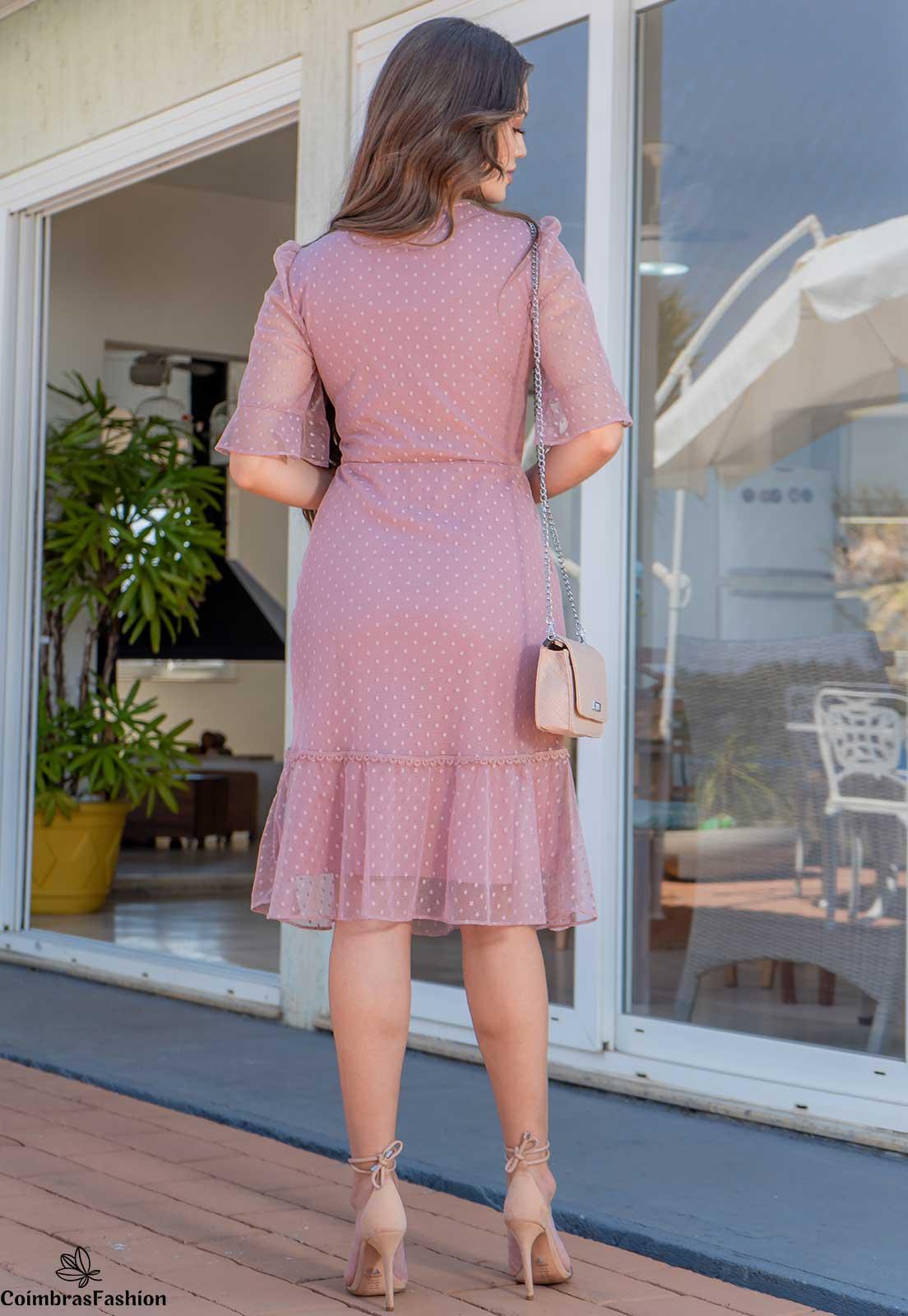 Vestido em tule poá com detalhes em renda luciana pais