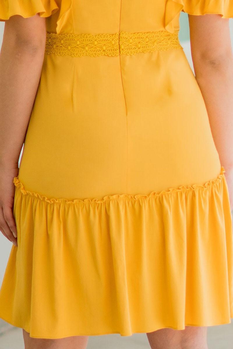 Vestido Evasê Amarelo Viscose Luciana Pais