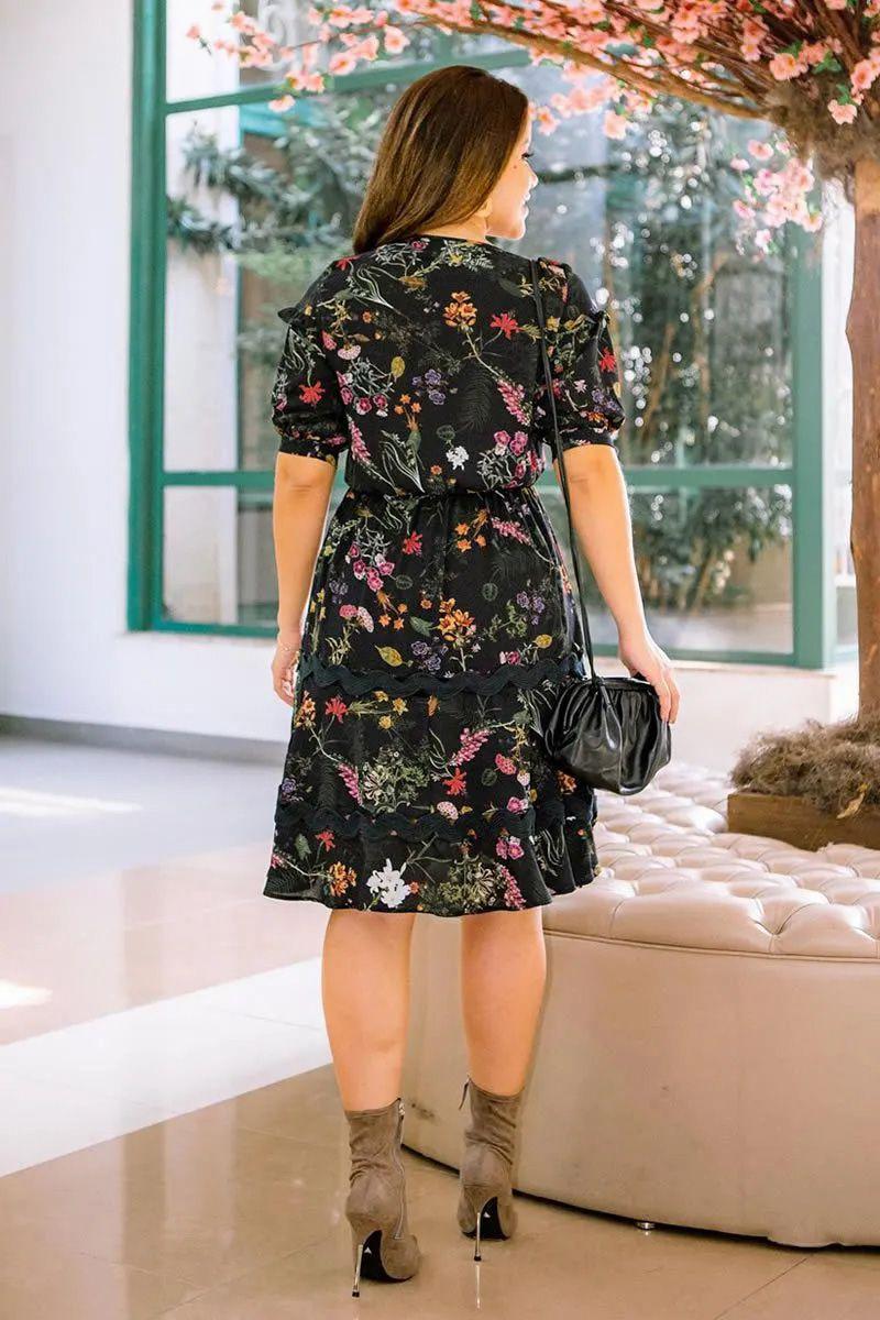 Vestido Evasê Estampado de Crepe Luciana Pais