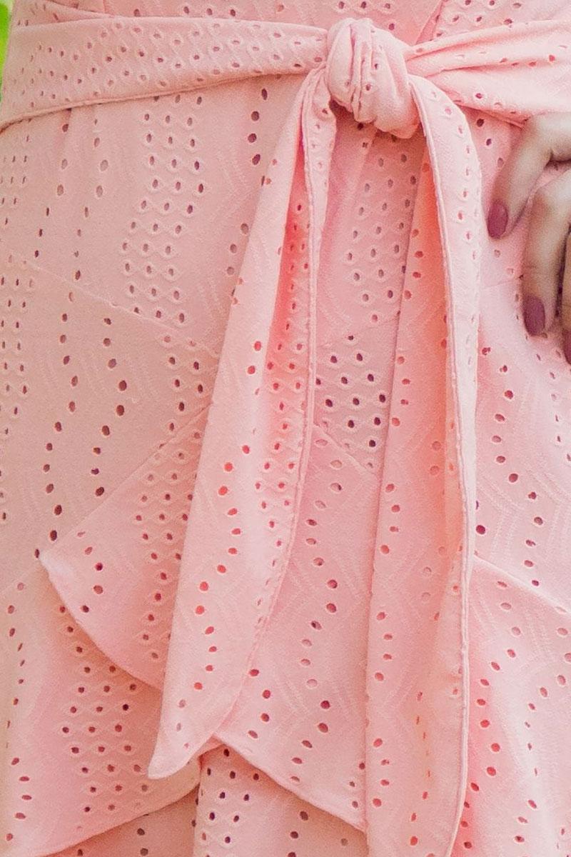 Vestido Evasê Luciana Pais Manga Curta Rosa