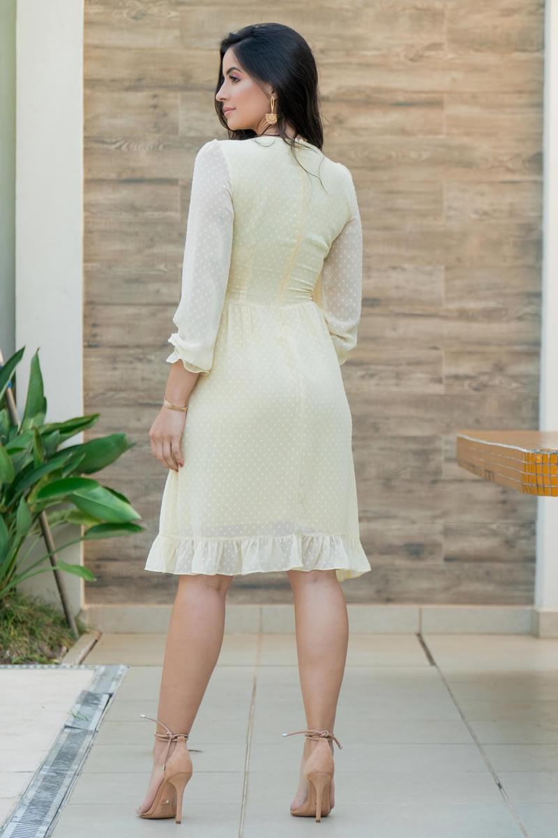 Vestido Evasê Luciana Pais Manga Longa Amarelo