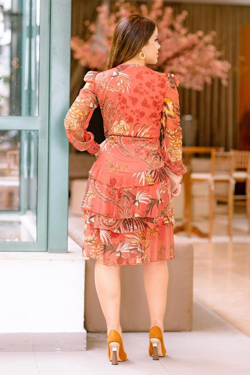 Vestido Evasê Manga Longa Tule Luciana Pais
