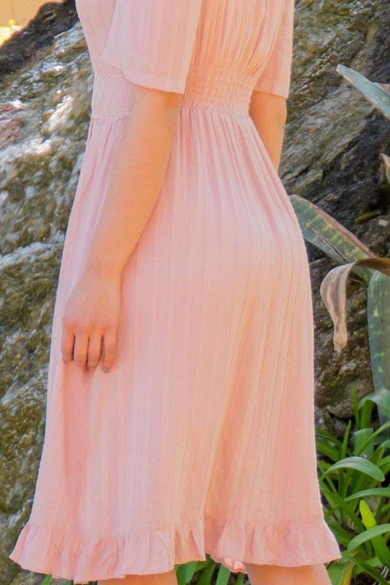 Vestido Evasê Rosa em Viscose Luciana Pais