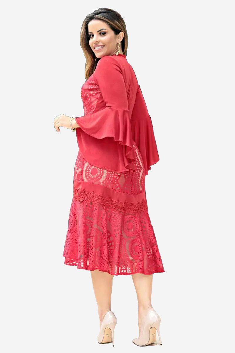 Vestido kauly maxi de renda e manga sino