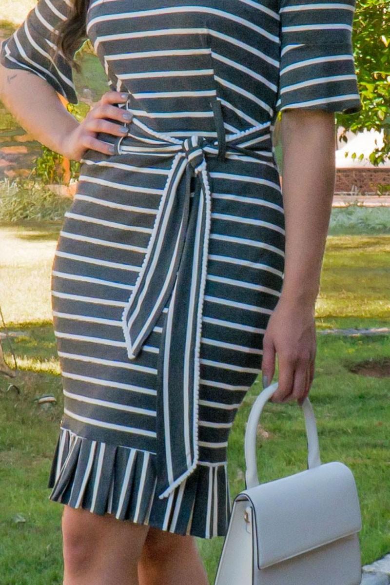 Vestido Listrado em Malha Luciana Pais