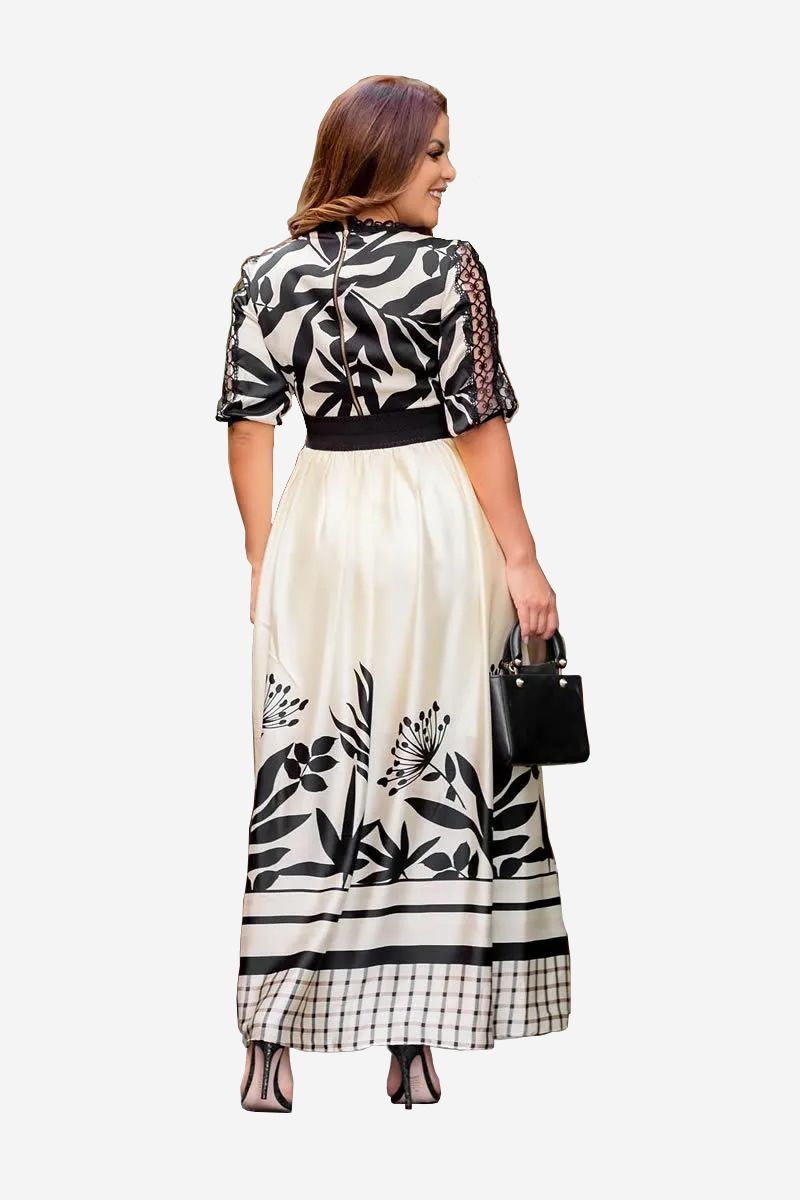 Vestido longo de seda estampado