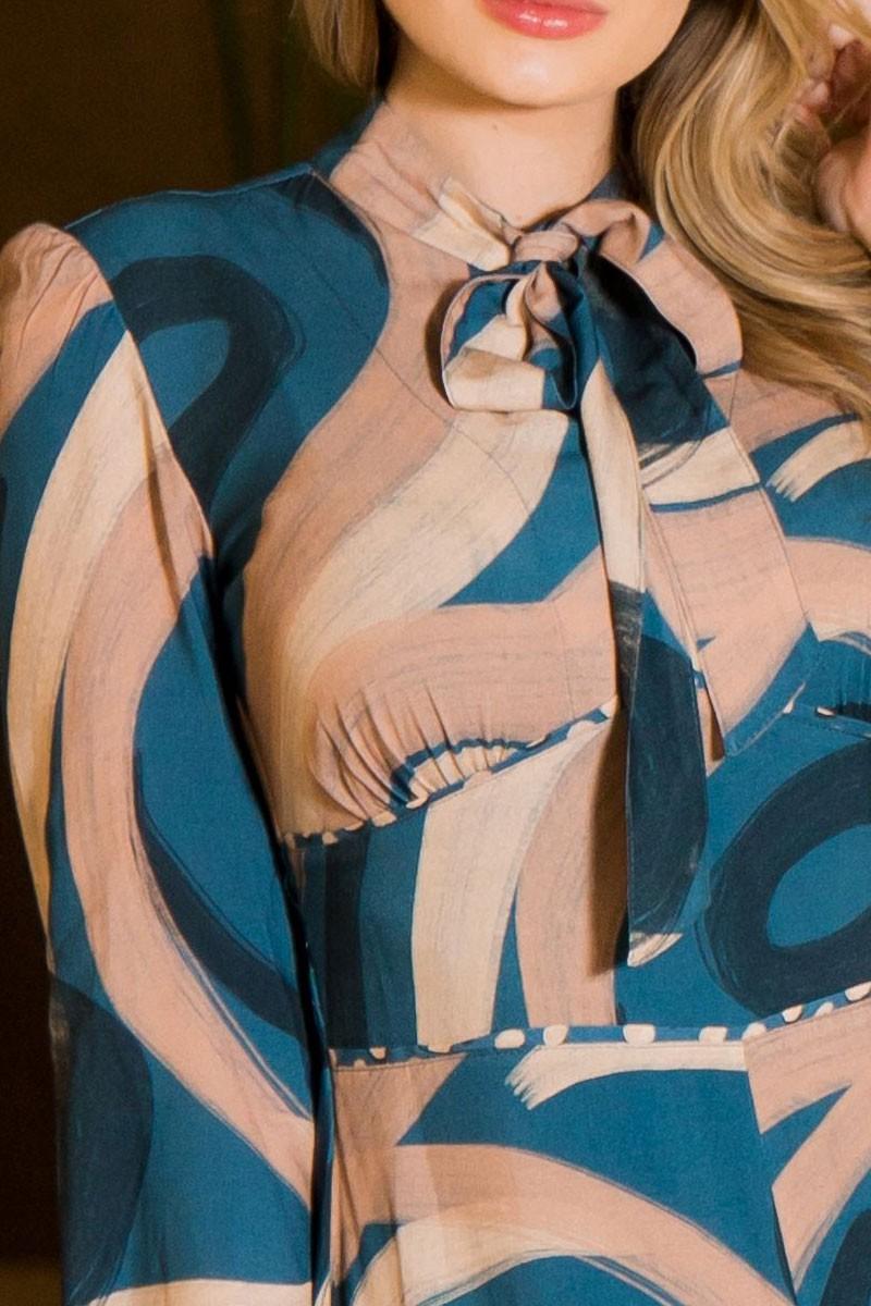 Vestido longo de viscose Estampado Kauly