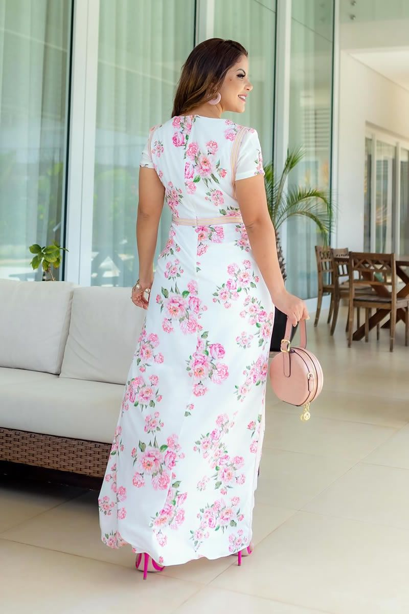 Vestido Longo de Seda Floral Luciana Pais
