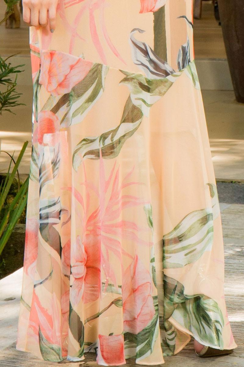 Vestido Longo em Tule Estampado Luciana Pais