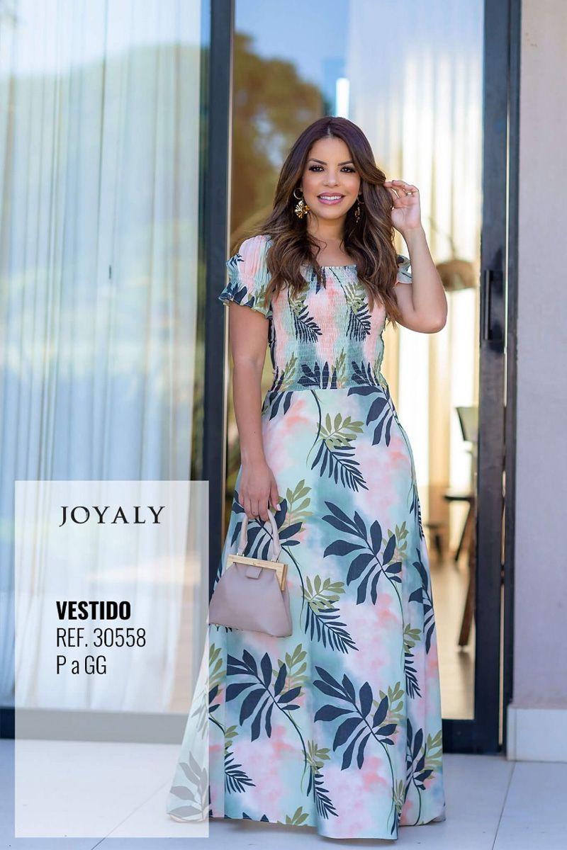 Vestido longo estampado joyaly