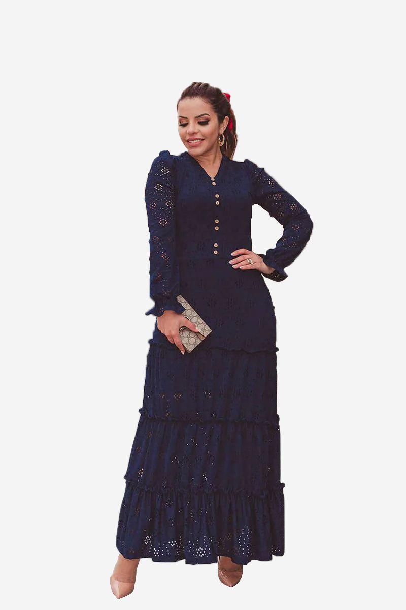 Vestido Azul Longo Básico Joyaly