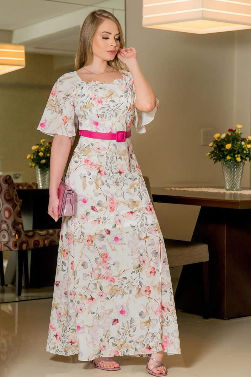 Vestido longo Kauly Gola Princesa em Crepe