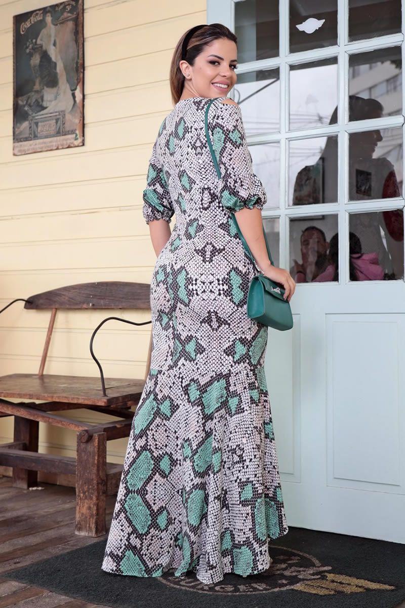 Vestido longo Luciana Pais em crepe de seda