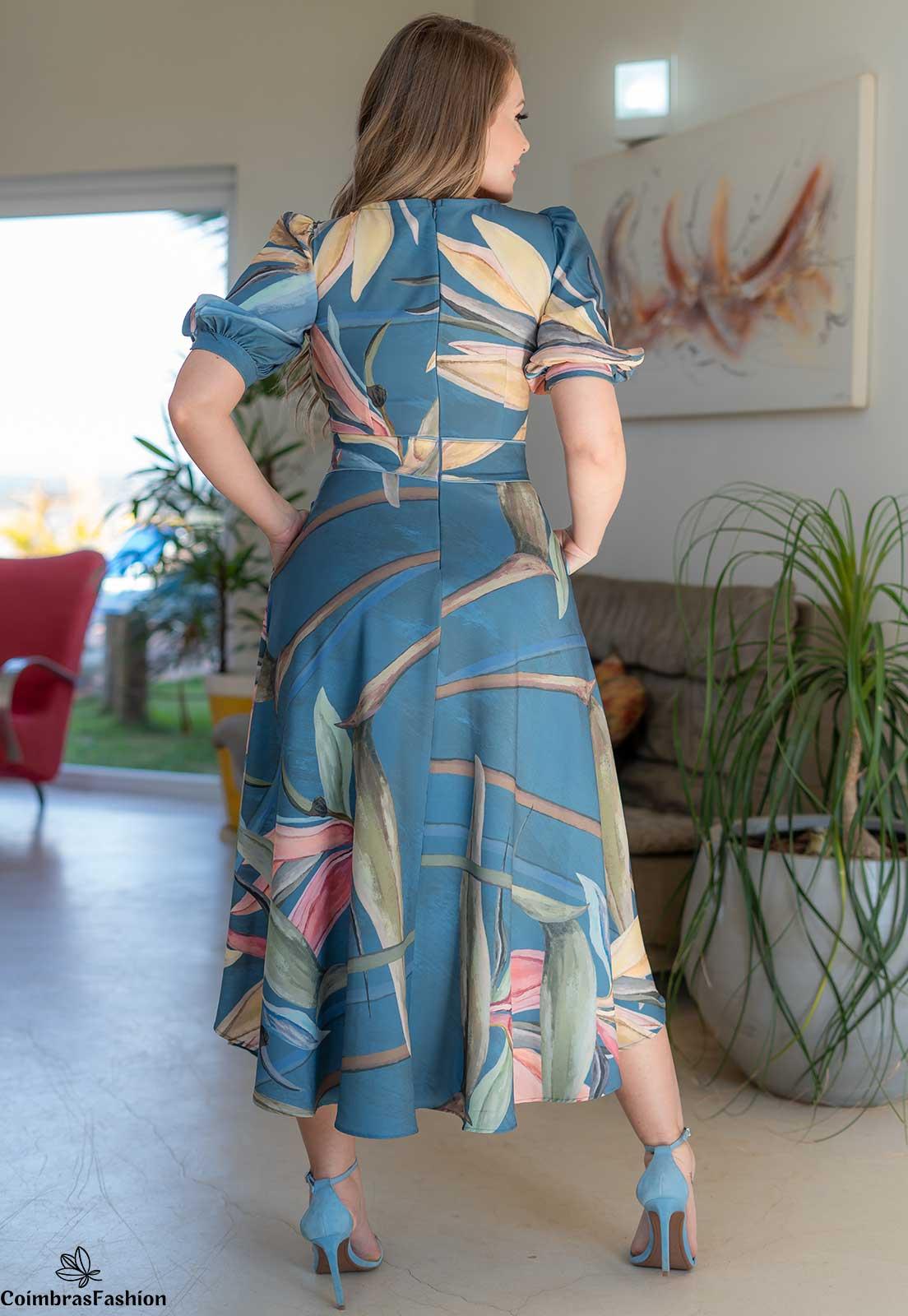 Vestido Manga Bufante Em Crepe Com Estampa Exclusiva Kauly