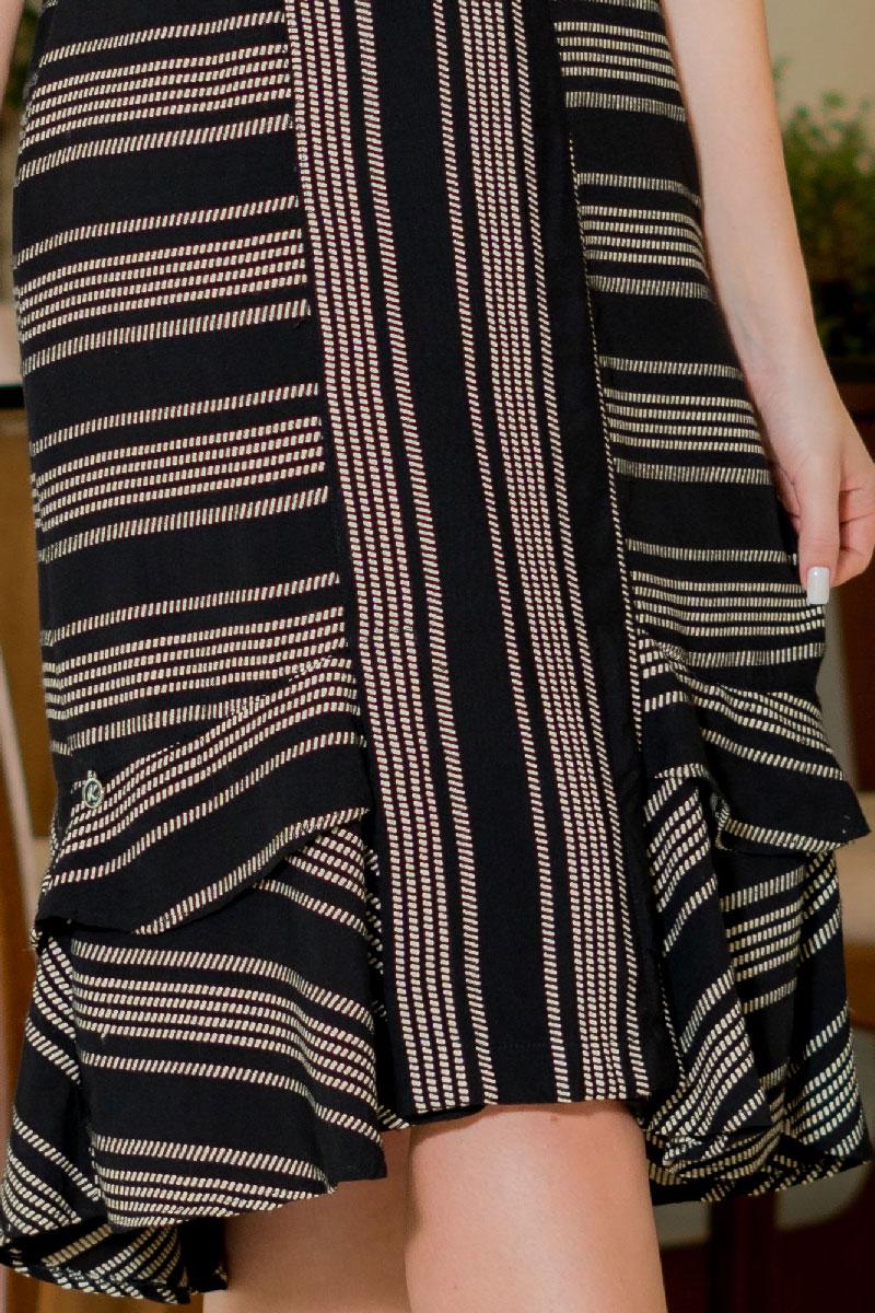 Vestido Midi em Viscose Listrado Kauly